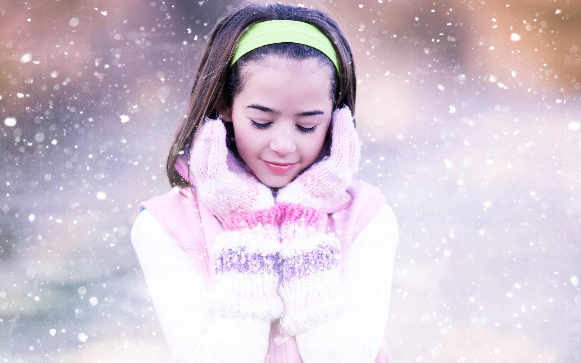 Зима, снежинки, девушка