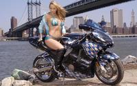 Красотка на мотоцикле под мостом