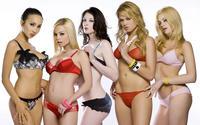 Фотография с девушками в разноцветных купальниках