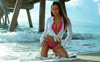 Красотка в бикини позирует на пляже