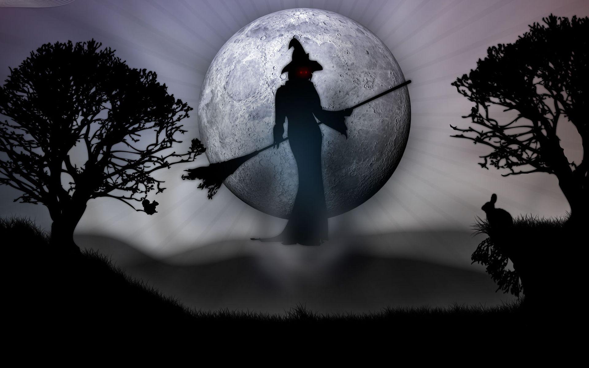 Ведьма с метлой, полная луна