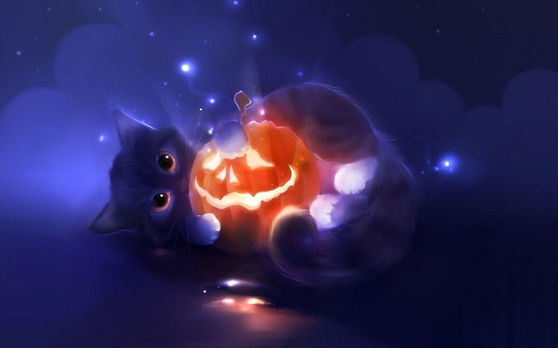 Котёнок обнимается с тыквой