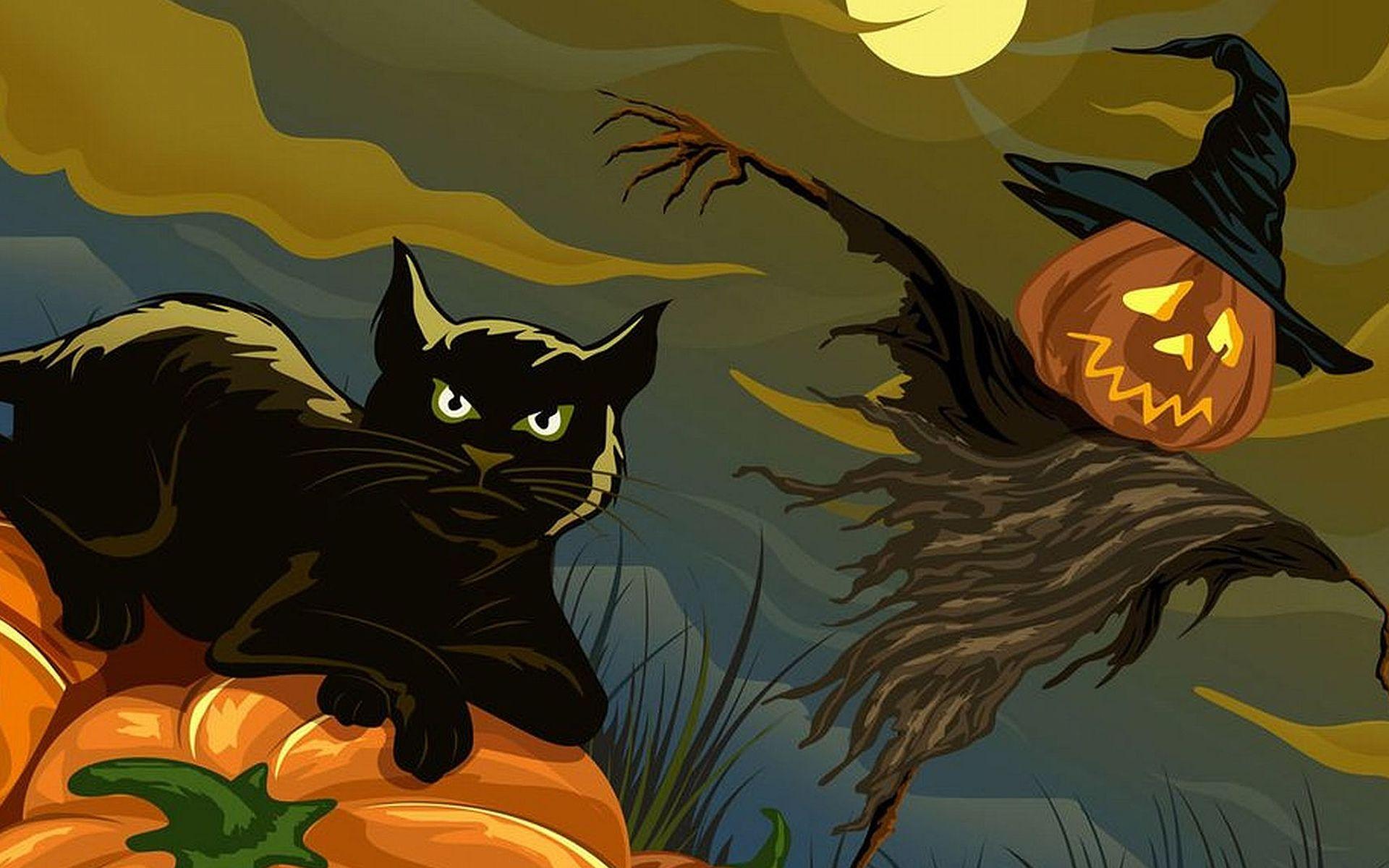 Черная кошка на тыкве у пугала