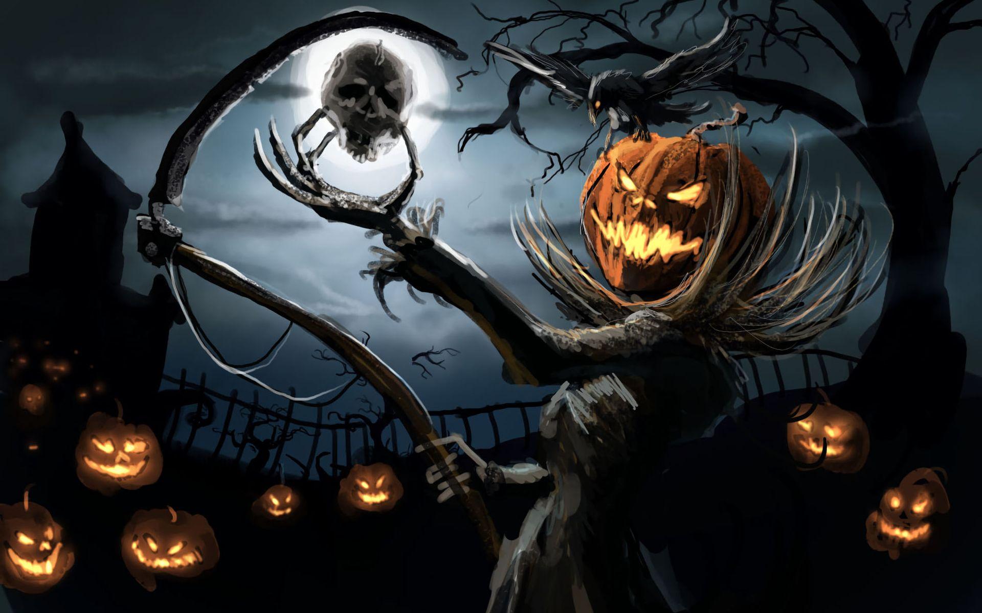 Пугало тыквы  с черепом на фоне луны