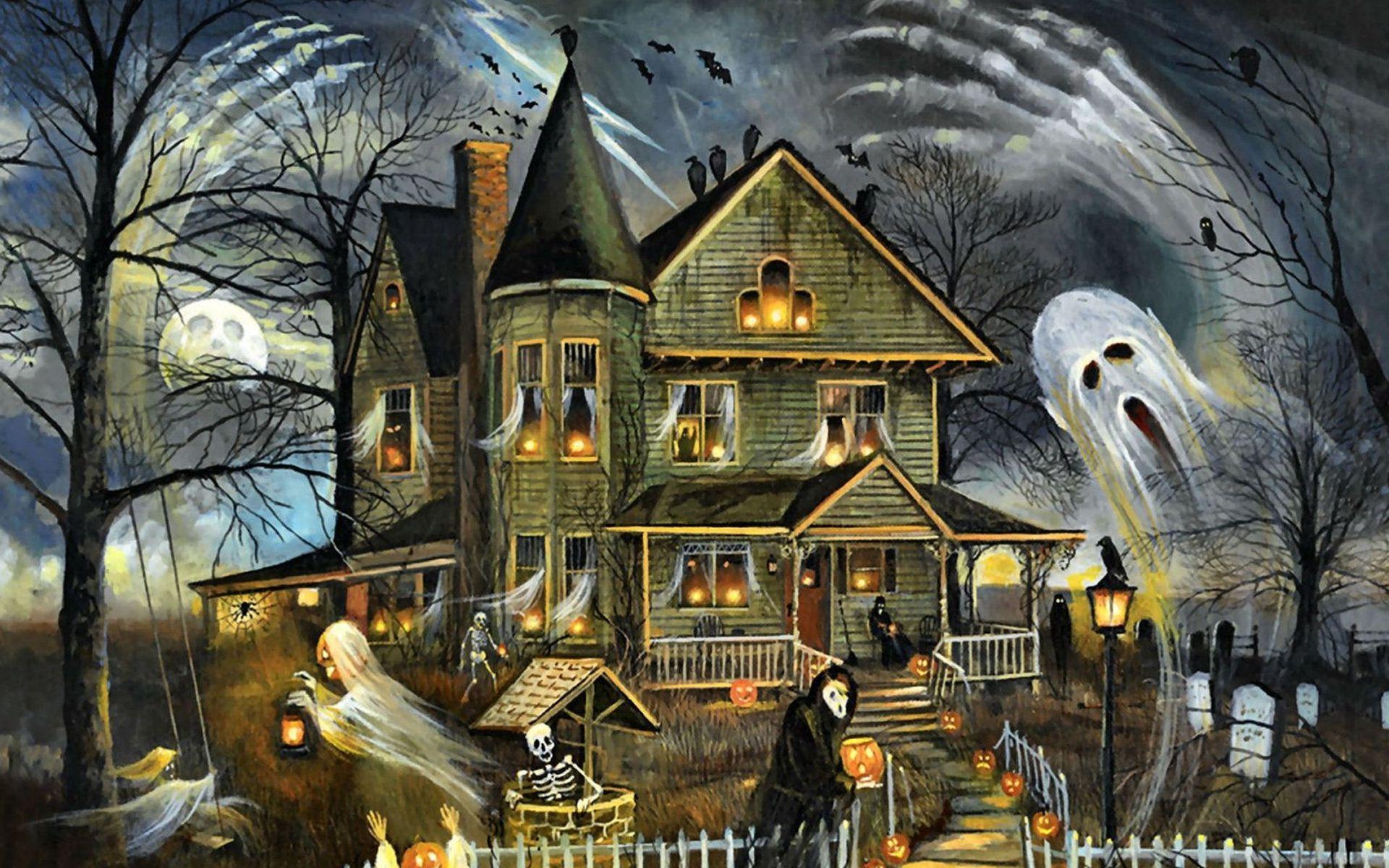 Призраки у старого дома в хэллоуин
