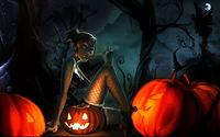 Девушка с лединцом на тыквах