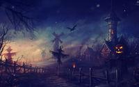 Пугало ночью в  хэллоуин