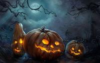 Три злобные тыквы ночью