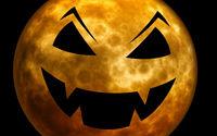 Луна в образе тыквы на  хэллоуин