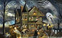 Призраки у старого дома в хэллоуи
