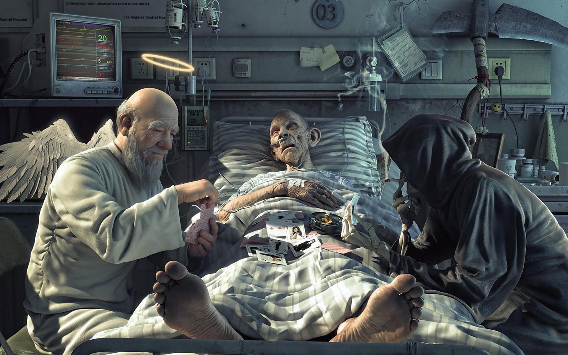 Ангел и Смерть играют в карты  за жизнь больного