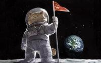 Кот космонавт в скафандре на луне
