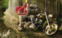 Красная шапочка с волком на мотоцикле