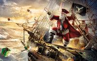 Санта-Клаус пират на пиратском корабле