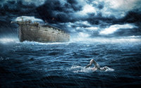 Человек уплывает от Ноева ковчега