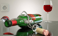 Пьяный штопор с бутылкой вина