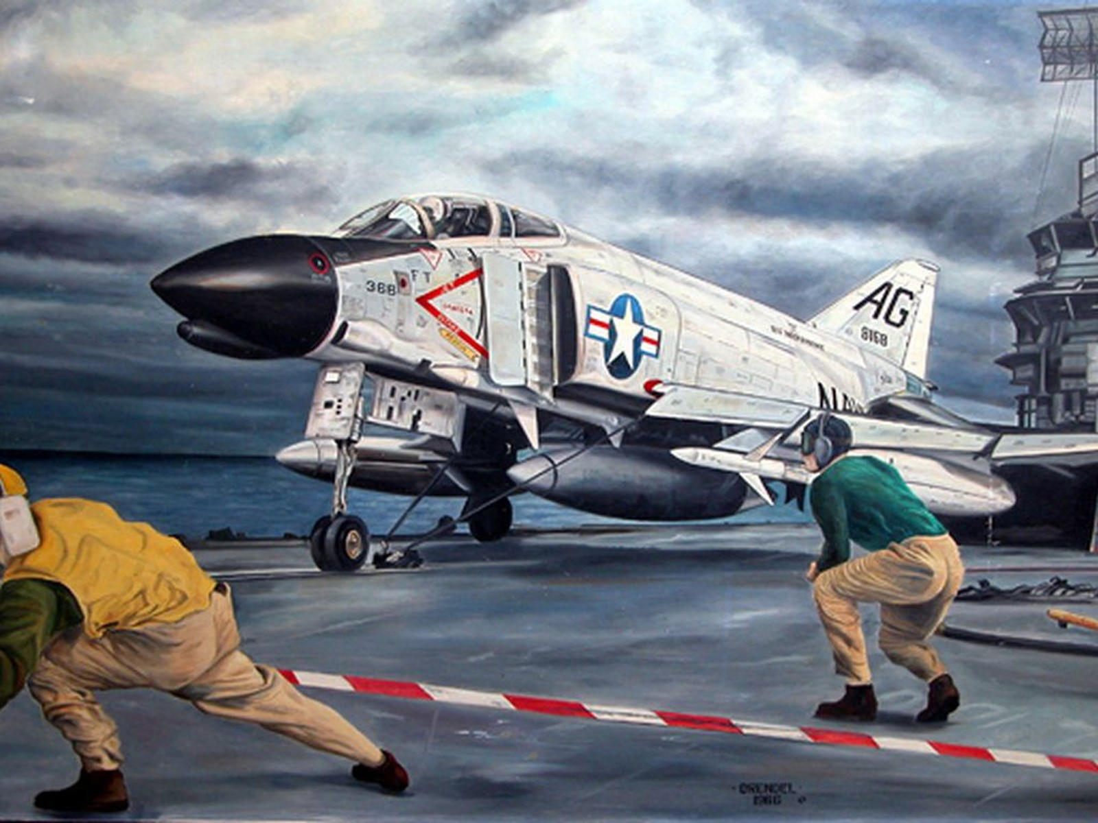 Самолёт Истребитель F-4 Phantom на палубе корабля