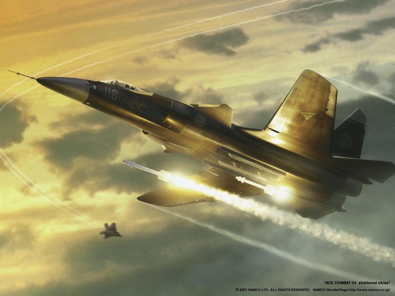 Самолёт истребитель пускает ракеты