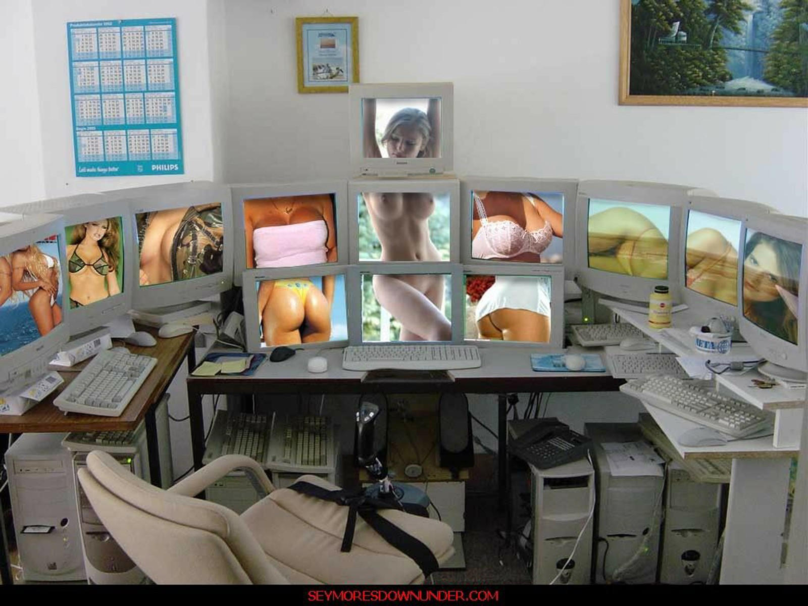 Голые девушки на экранах