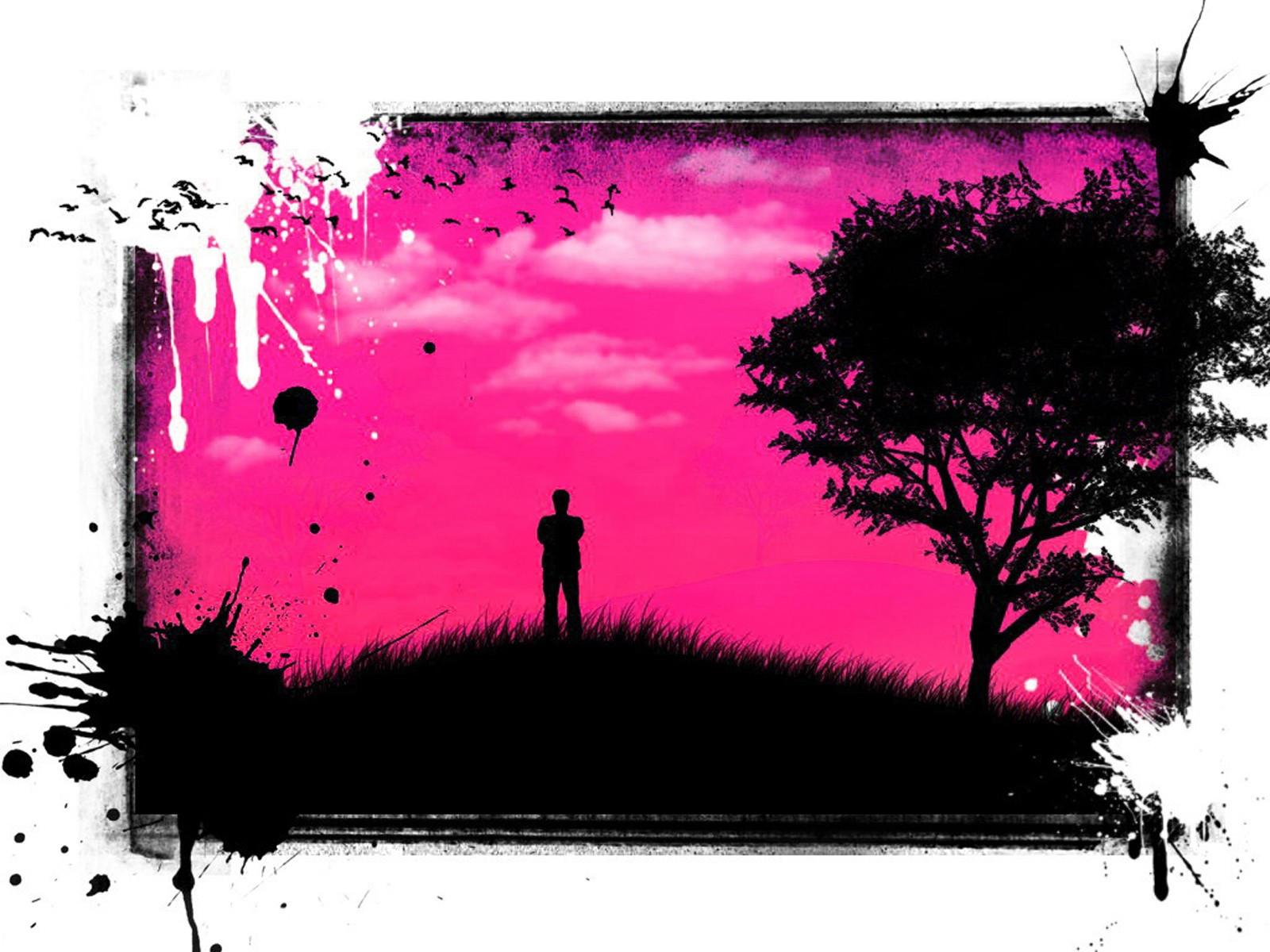 Картина розовое с черным