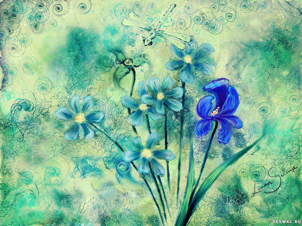 Букет нарисованных цветов нажмите на