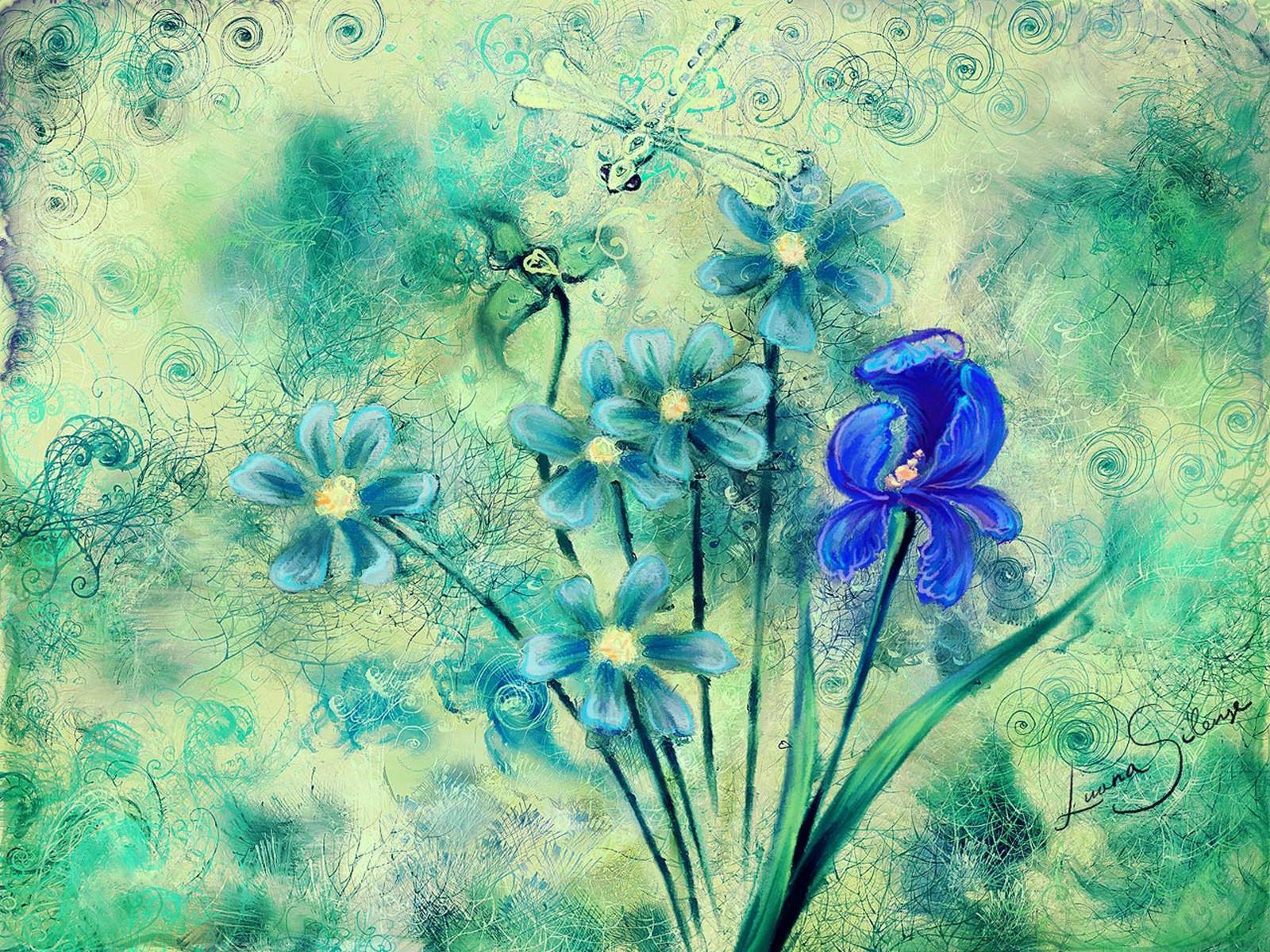 Букет нарисованных цветов