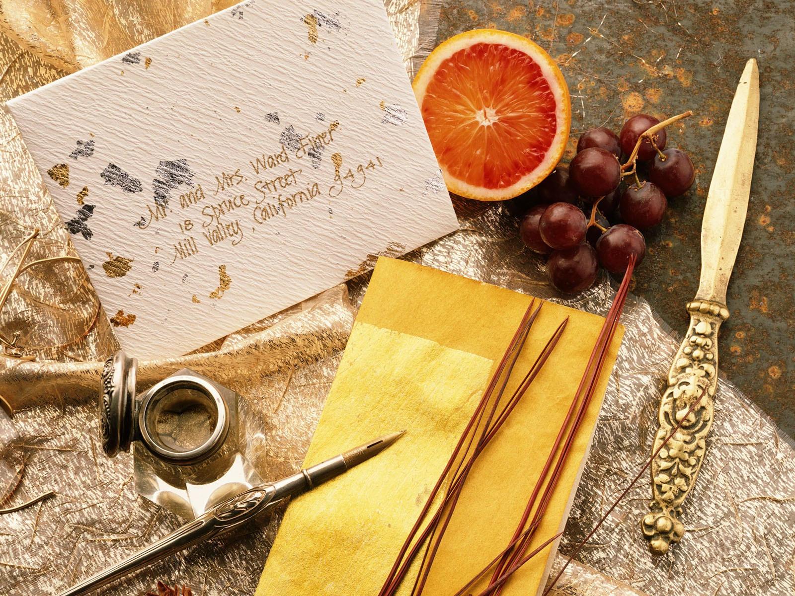 Письмо и фрукты
