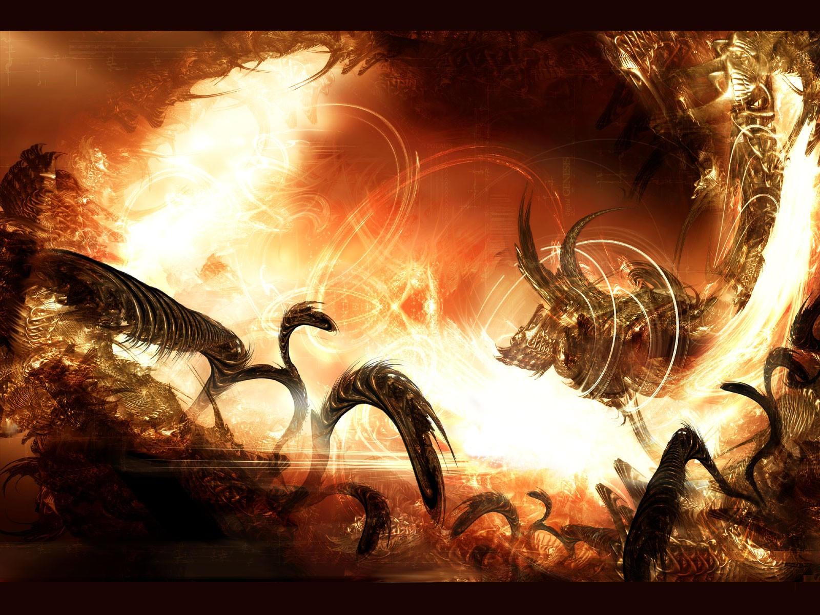 Инферно, пылающие языки пламени