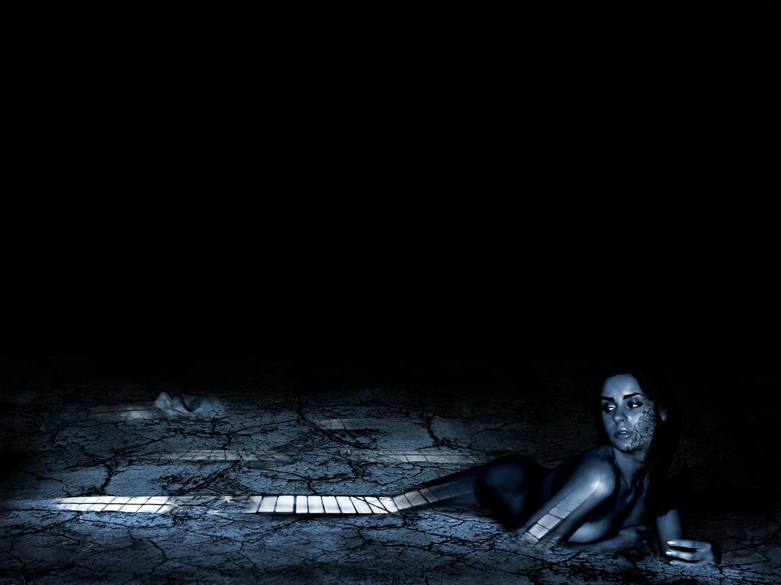 Девушка в асфальте, темный фон