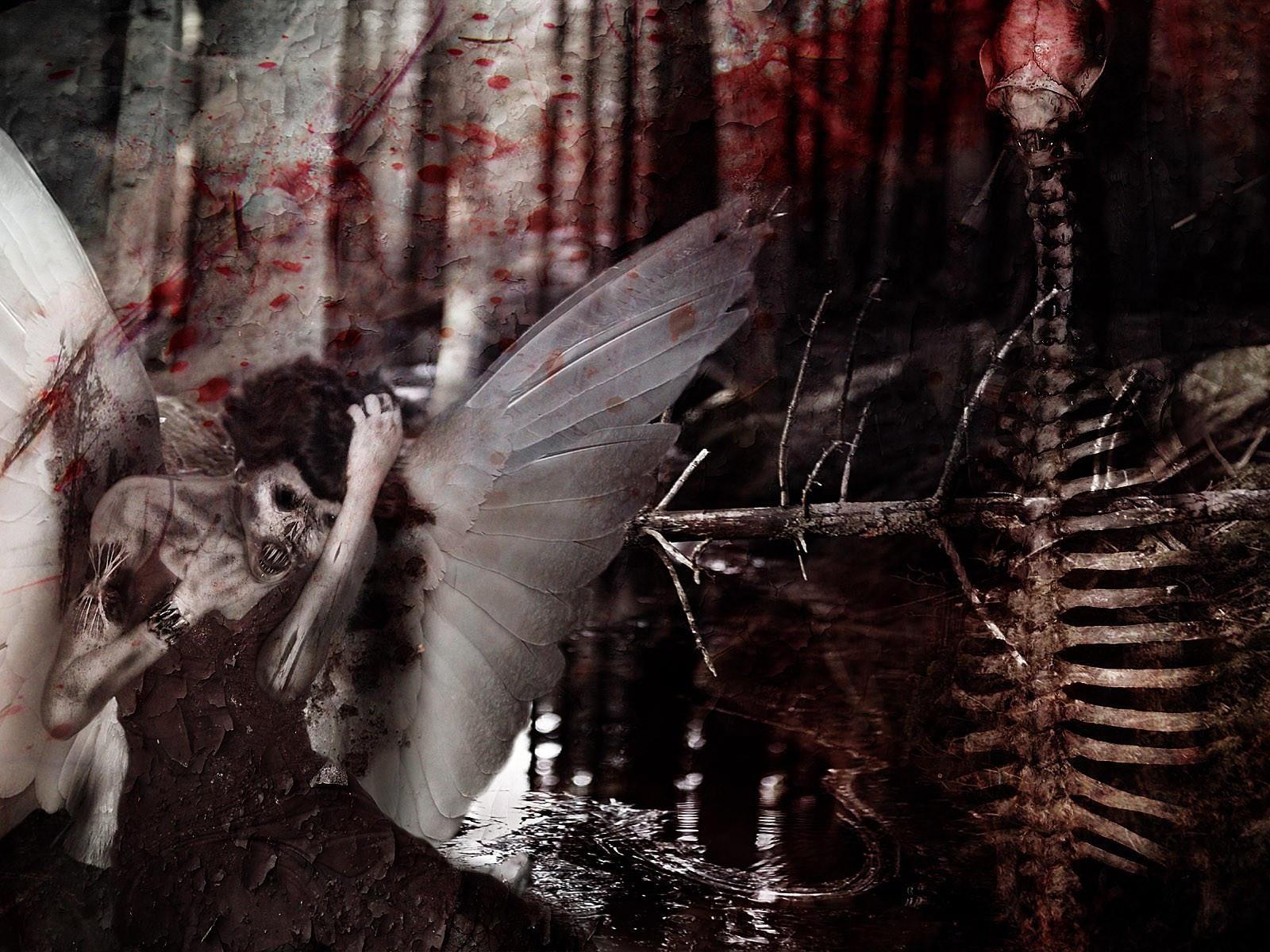 Скелет и девушка с крыльями