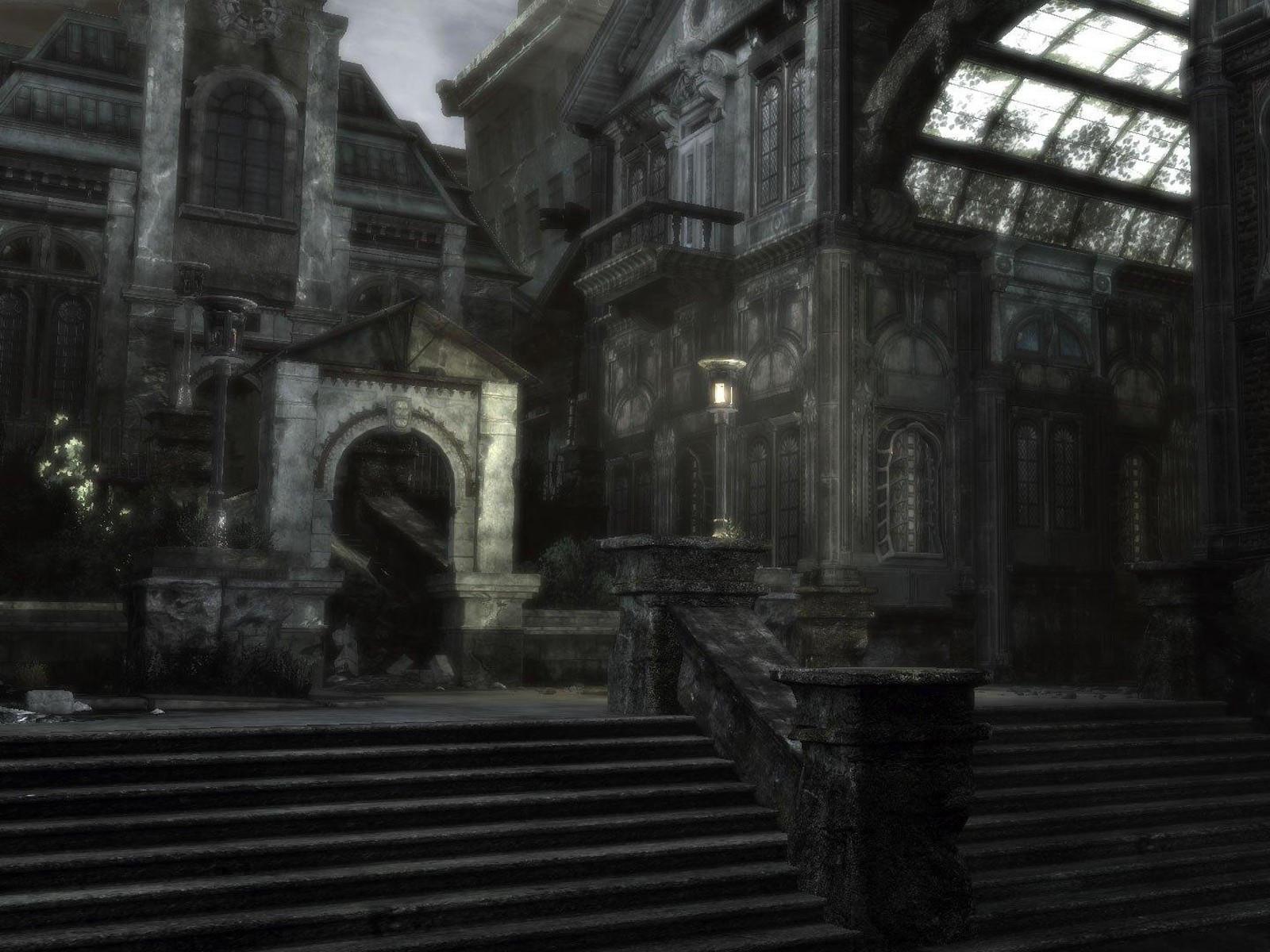 Лестница в заброшенном городе
