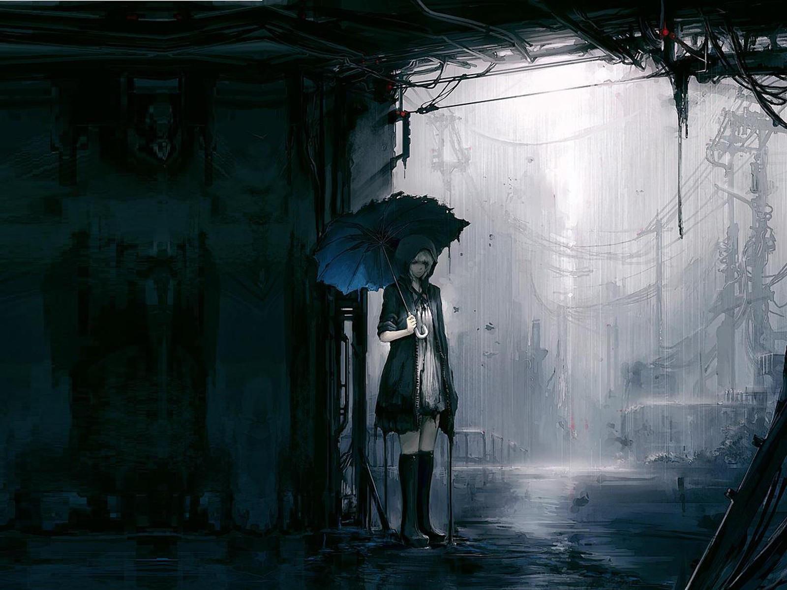 Девушка под зонтом в дождь
