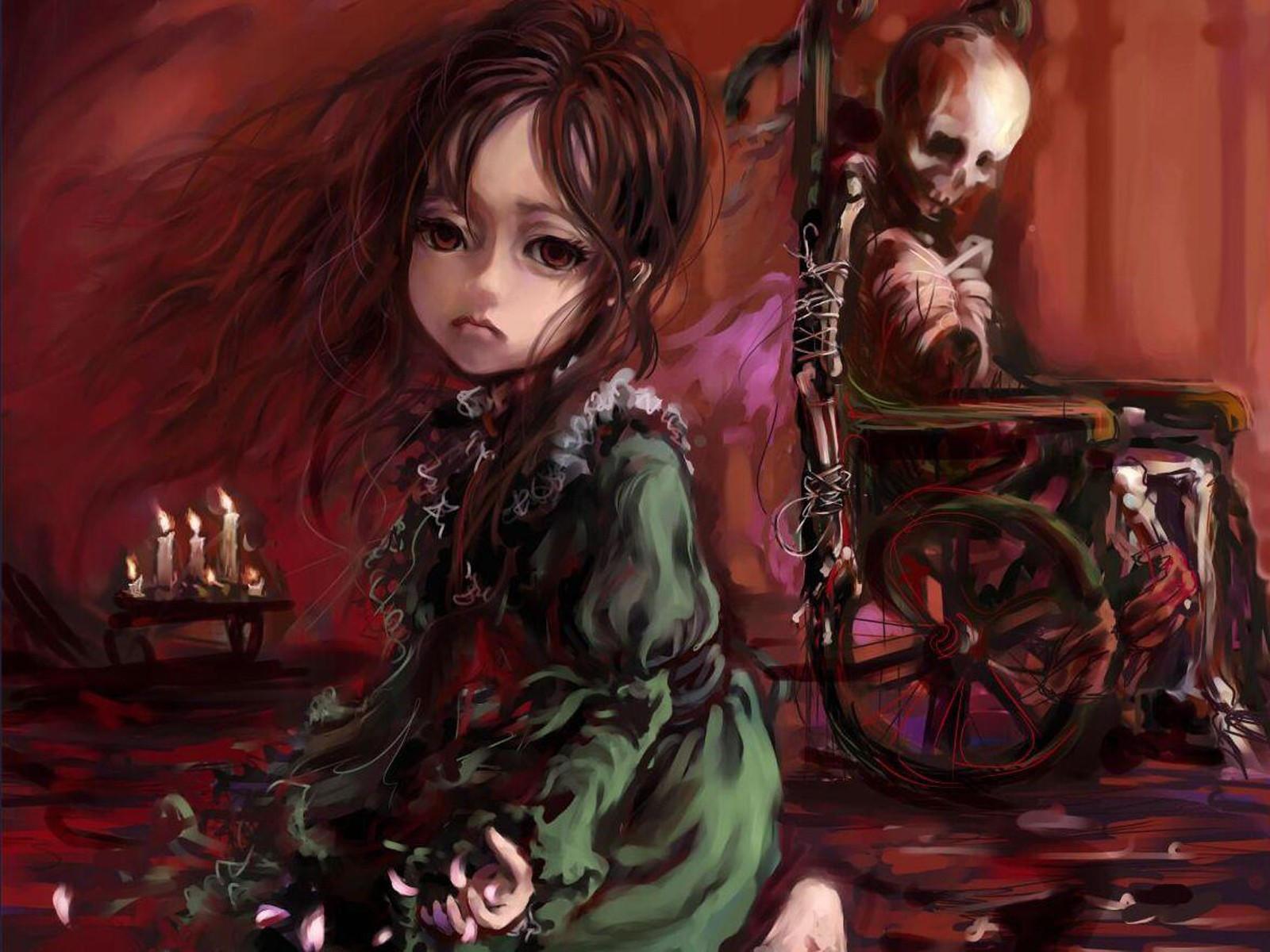 Ребенок и скелет на коляске