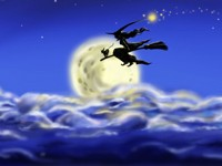 Ведьма с кошкой на метле в облаках