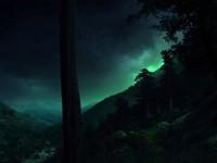 Ночь в темных лесных горах