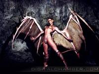 Демон с крыльями и хвостом