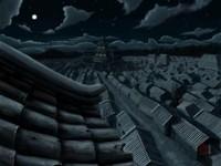 Крыши домов ночью в Азии