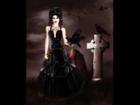Готичная дама  с вороном у могилы
