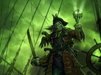 Проклятый пират с мечом и черепом