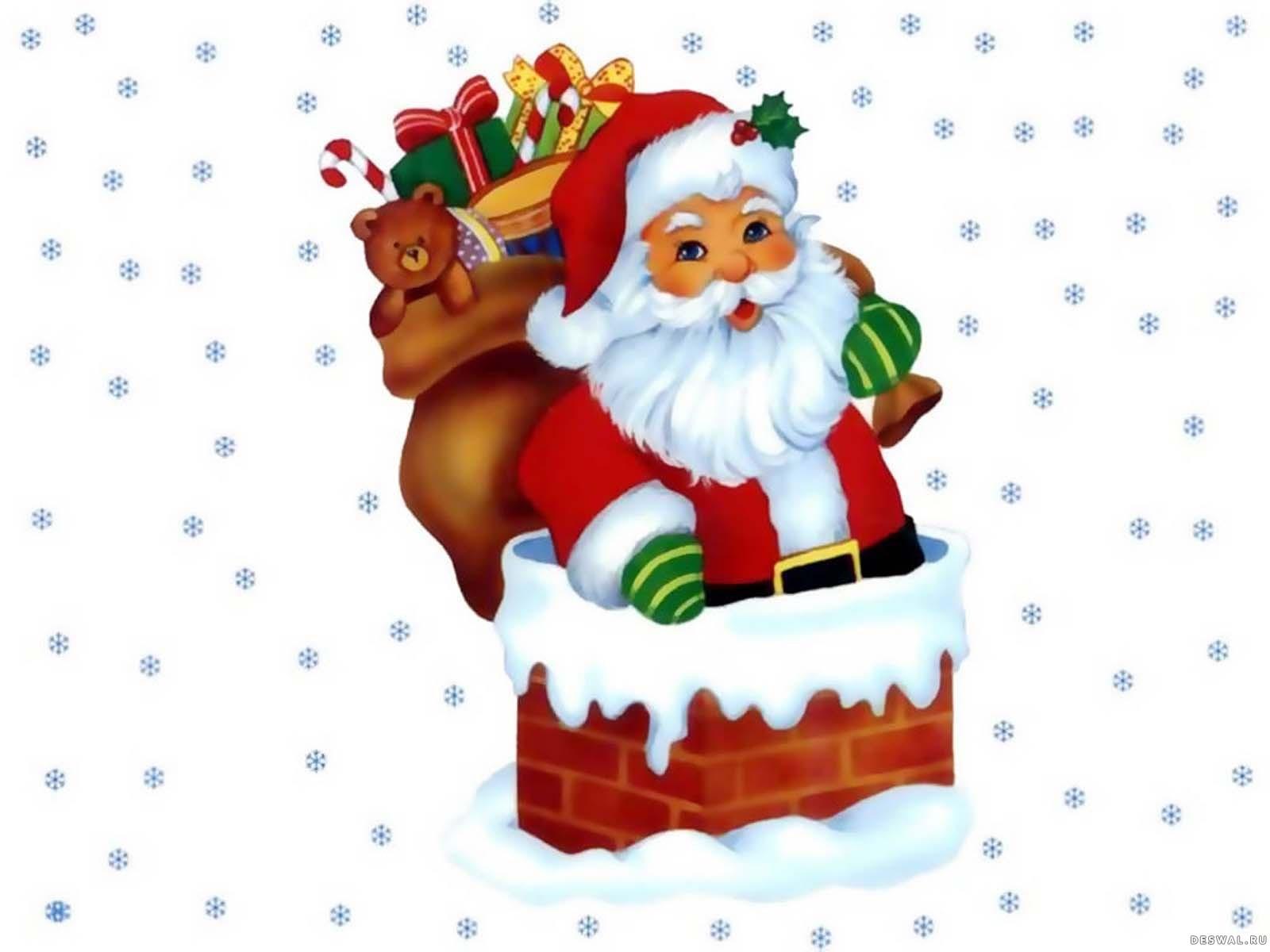 Санта в трубе с подарками