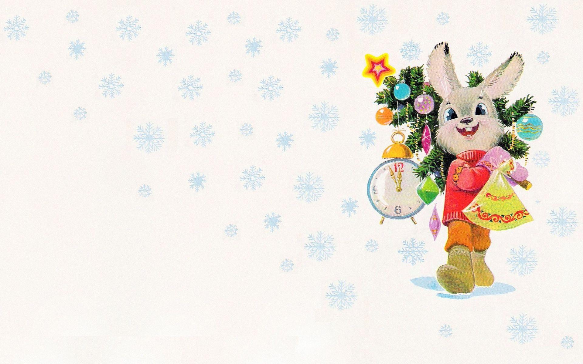 Открытка, новогодние картинки с зайчиками