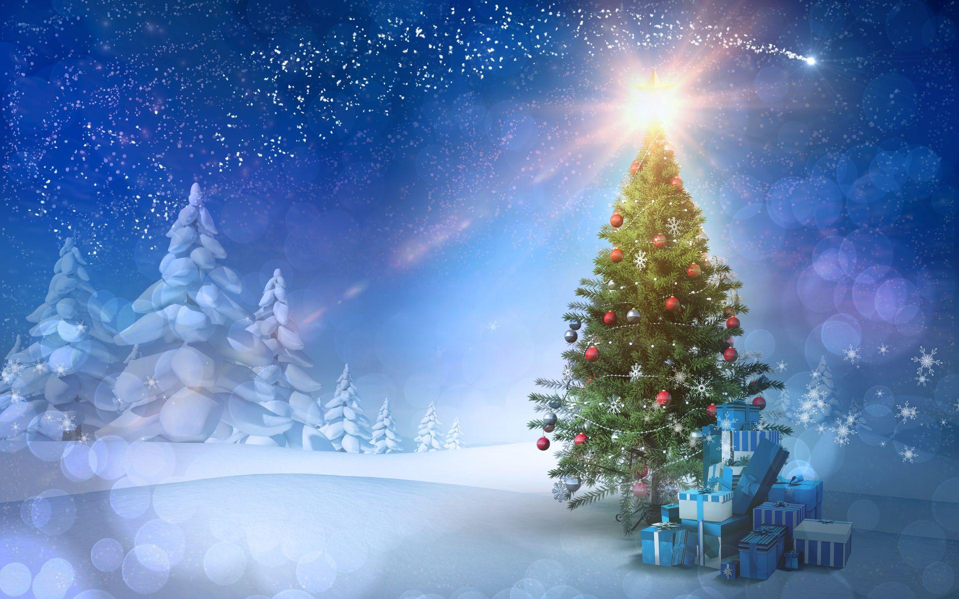 Картинка с ёлочкой и подарками