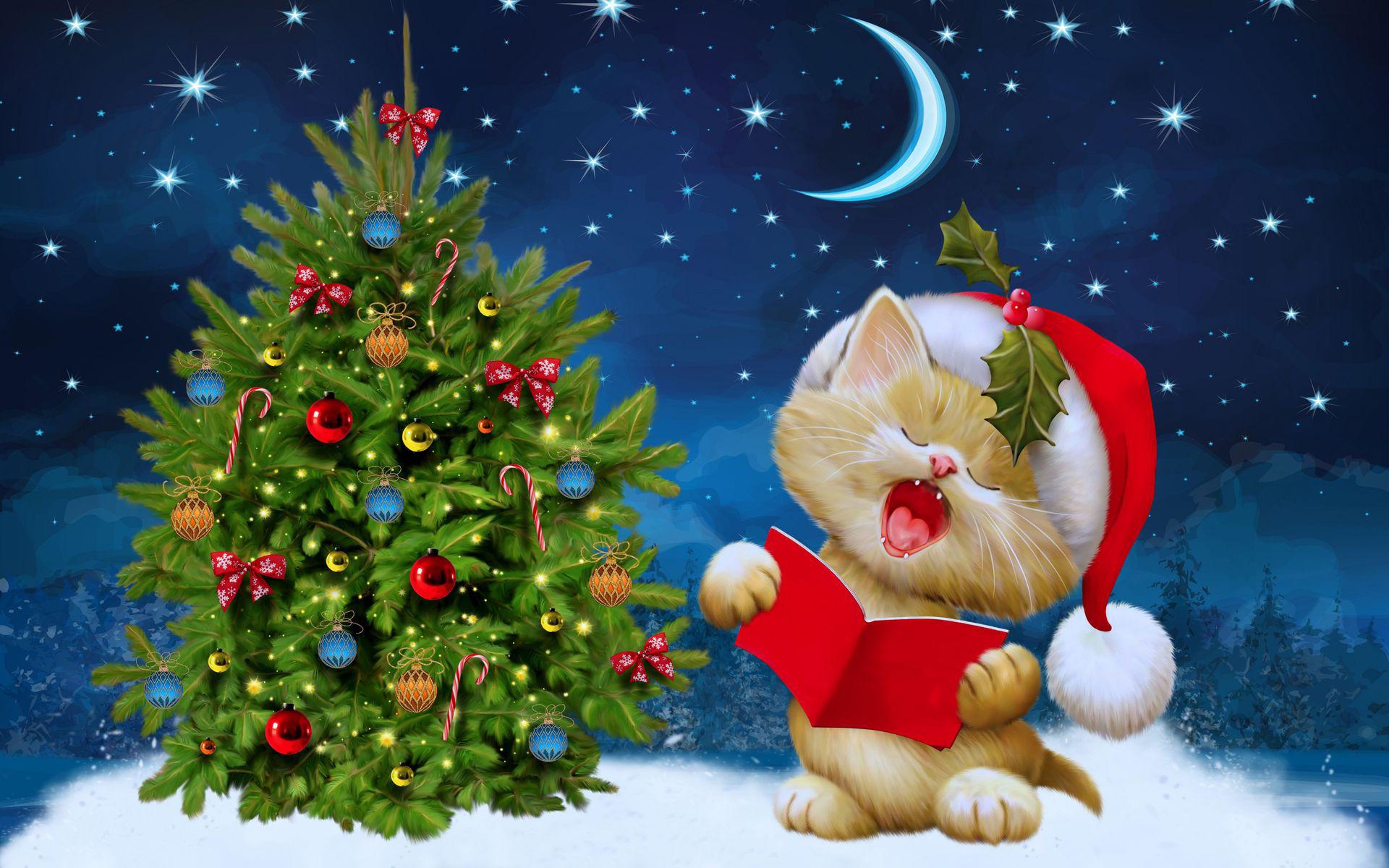 Котёнок поёт у ёлки в новогоднюю ночь
