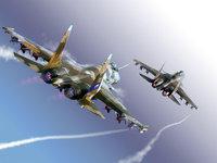 Два истребителя Су-37 в небе