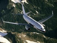 Авиалайнер над горной местностью
