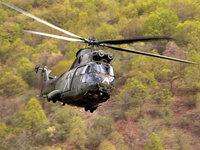 Вертолет летит над лесом