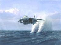 Истребитель на бреющем полёте над морем