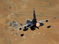 Военные самолёты сбрасывают бомбы на базу