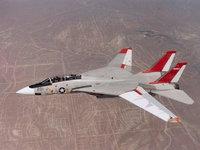 Самолёт истребитель-бомбардировщик F-14 над землёй