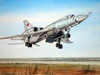 Самолёт Бомбардировщик Ту-22 идет на взлет